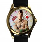 cool lace up mgk gun kelly leather gold Wristwatches