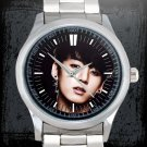 cool jungkook bangtan boys kpop Stainless Steel Wristwatches