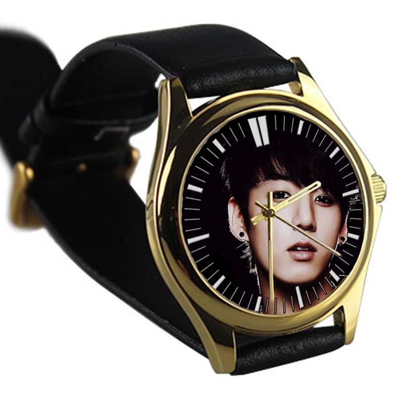 cool jungkook bangtan boys kpop leather gold Wristwatches