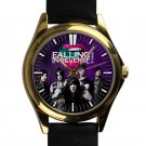cool Falling in reverse logo ronnie radke leather gold Wristwatches