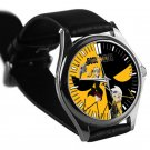 cool Soul Eater Death Shinigami Comic Art Anime leather silver Wristwatches