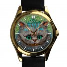 cool alice in wonderland cheshire leather gold Wristwatches