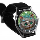 cool alice in wonderland cheshire leather silver Wristwatches