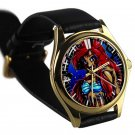 cool Princess Ariel zombie Little Mermaid leather gold Wristwatches