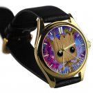cool i am groot baby face cute galaxy nebula leather gold Wristwatches