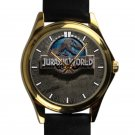 cool jurassic park logo wood pattern leather gold Wristwatches