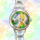 cute tinkerbell and friends fairies round charm watches stainless steel