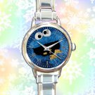 cute cookie monster round charm watches stainless steel