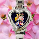 cute sailor moon mars jupiter venus crystal heart charm watches stainless steel