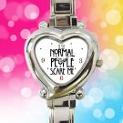cute american horror story normal people scare me heart charm watches stainless steel