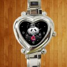 cute Donut Cop Panda heart charm watches stainless steel