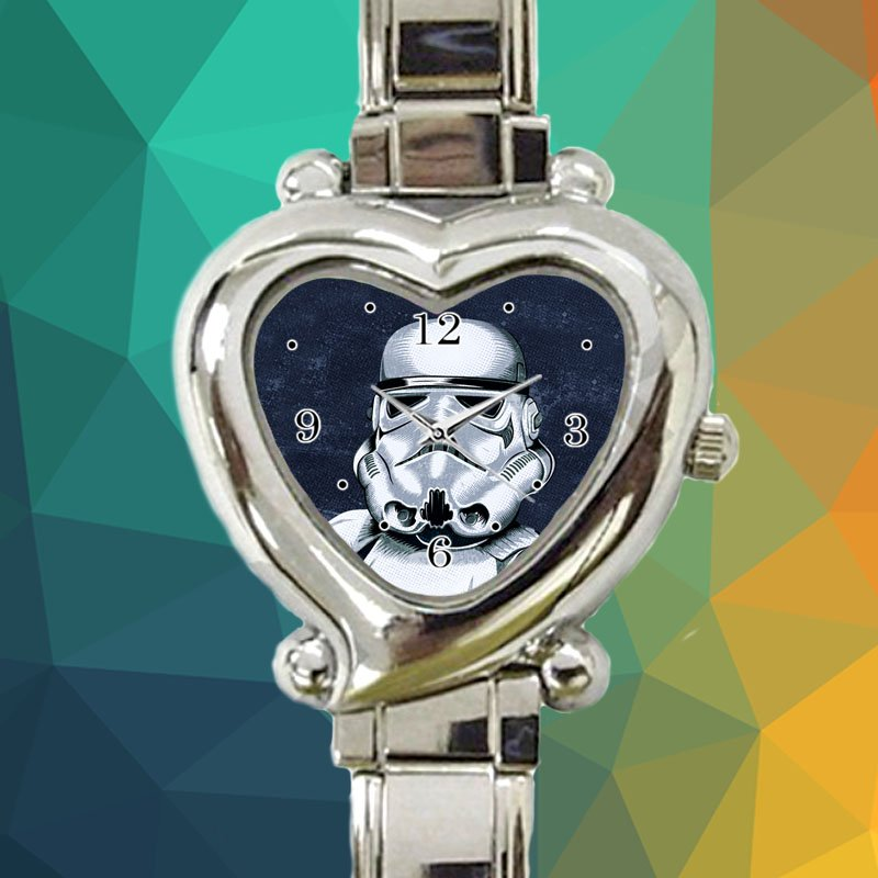 cute Star Wars Storm Trooper Darth Vader heart charm watches stainless steel
