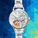 cute Rick and Morty portal gun round charm watches stainless steel