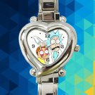 cute Rick and Morty portal gun hearts logo heart charm watches stainless steel