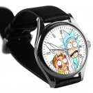 cool Rick and Morty portal gun leather silver Wristwatches