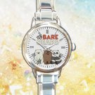cute We Bare Bears Food round charm watches stainless steel