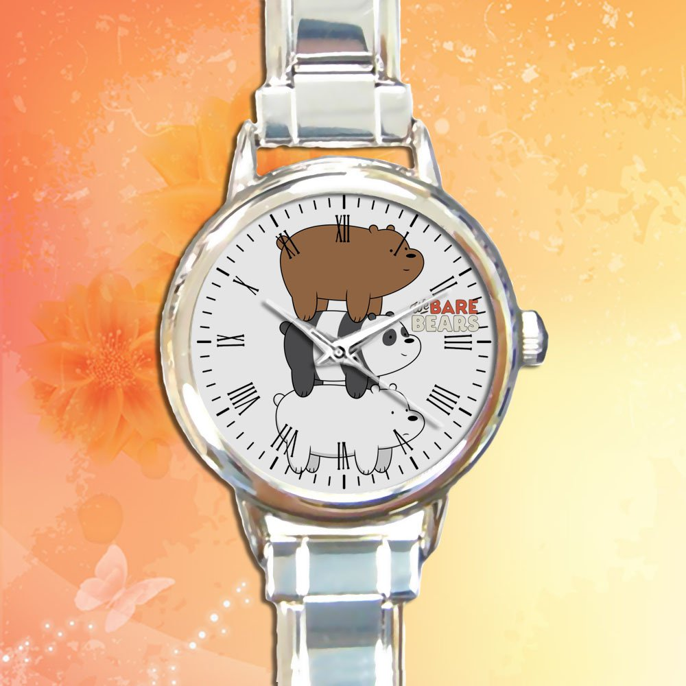 cute We Bare Bears cartoon Food round charm watches stainless steel