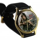 cool walking dead season zombie daryl dixon leather gold Wristwatches