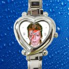 cute david bowie art aladdin hearts logo heart charm watches stainless steel