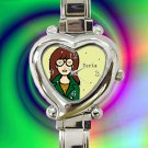 cute Daria hearts logo heart charm watches stainless steel
