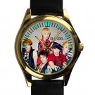 cool shinee minho key onew jonghyun taemin leather gold Wristwatches