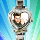 cute Zac Efron heart charm watches stainless steel