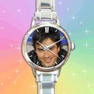 cute ian somerhalder vampire diaries damon salvatore smile round charm watches stainless steel