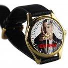 cool eminem berzerk album hip hop leather gold Wristwatches