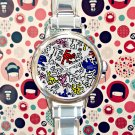 cute Keith Haring Art design round charm watches stainless steel