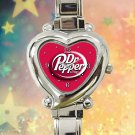 cute DR PEPPER Red Can heart charm watches stainless steel