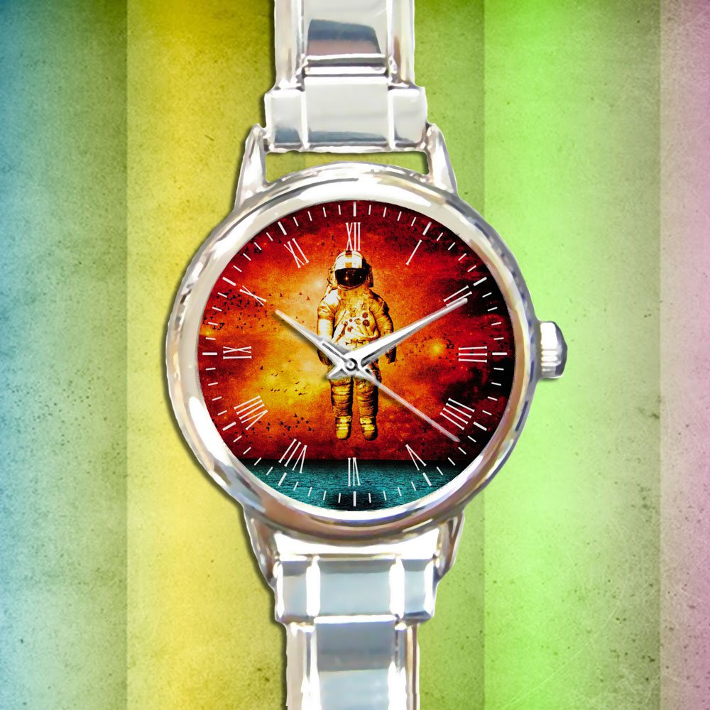 cute Spaceman Brand New Cover Deja Entendu round charm watches stainless steel