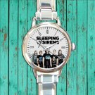cute sleeping with sirens logo album round charm watches stainless steel