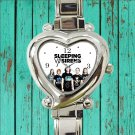 cute sleeping with sirens logo album heart charm watches stainless steel