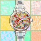 cute Takashi Murakami flower pattern round charm watches stainless steel