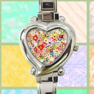 cute Takashi Murakami flower pattern heart charm watches stainless steel