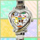 cute friends collage art f.r.i.e.n.d.s heart charm watches stainless steel