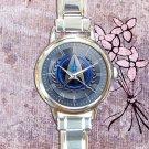 cute star trek communicator logo round charm watches stainless steel