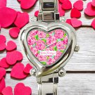 cute Lilly Pulitzer Lobstah Roll heart charm watches stainless steel