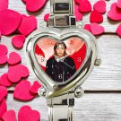 cute david gueta hey mama DJ heart charm watches stainless steel