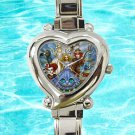 cute ALICE in wonderland have I gone mad heart charm watches stainless steel