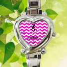 cute Browning deer pink chevron heart charm watches stainless steel
