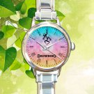 cute Browning deer heart pink chevron round charm watches stainless steel