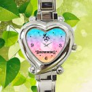 cute Browning deer heart pink chevron heart charm watches stainless steel