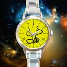 cute woodstock peanuts growing with snoopy round charm watches stainless steel