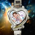 cute Violetta TV Actress Martina Stoessel heart charm watches stainless steel