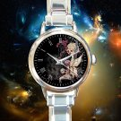 cute Fairy Girl Holding Skull round charm watches stainless steel