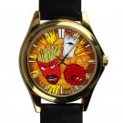 cool Aqua Teen Hunger Force leather gold Wristwatches