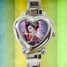 cute Geisha Girl Designs heart charm watches stainless steel