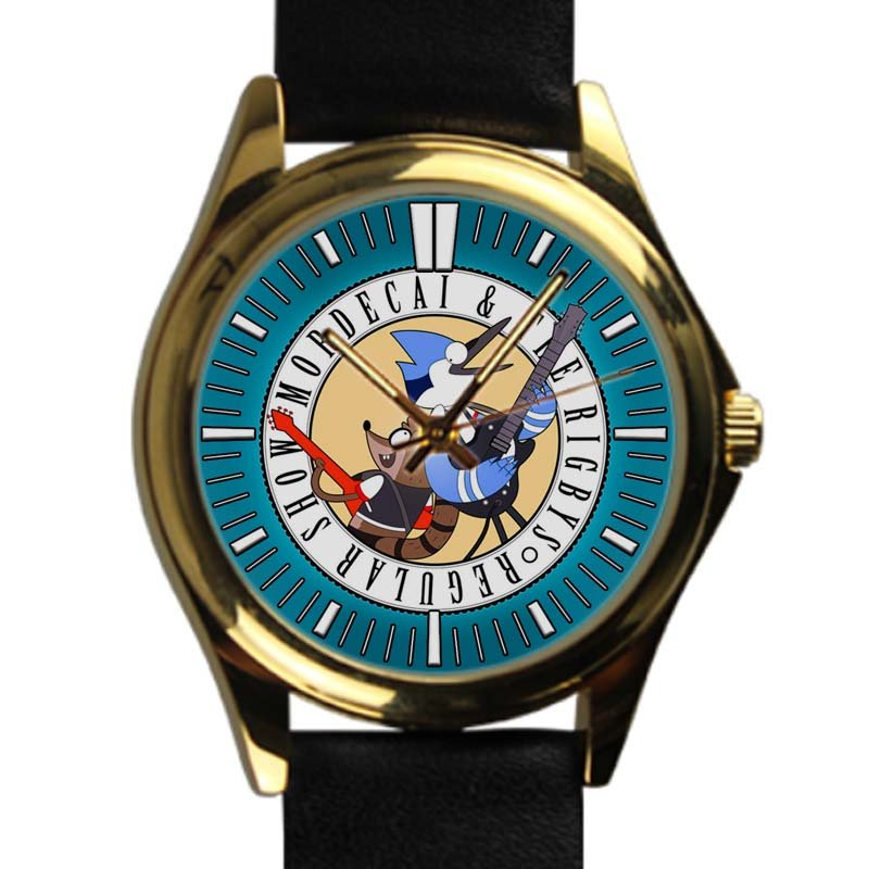 cool Regular Show Mordecai and Rigby oooohhh leather gold Wristwatches