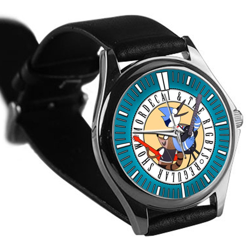cool Regular Show Mordecai and Rigby oooohhh leather silver Wristwatches
